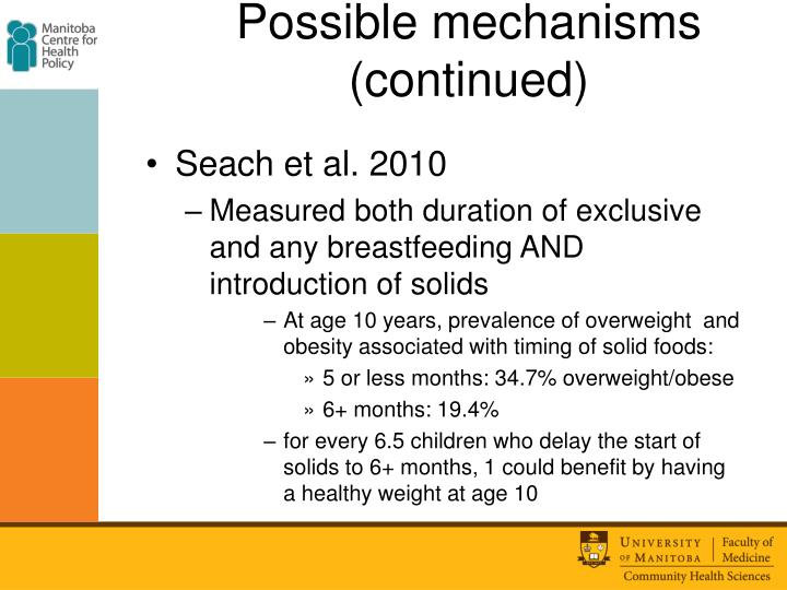 Possible mechanisms (continued)