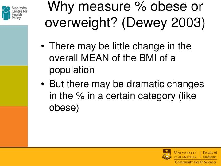 Why measure % obese or overweight? (Dewey 2003)