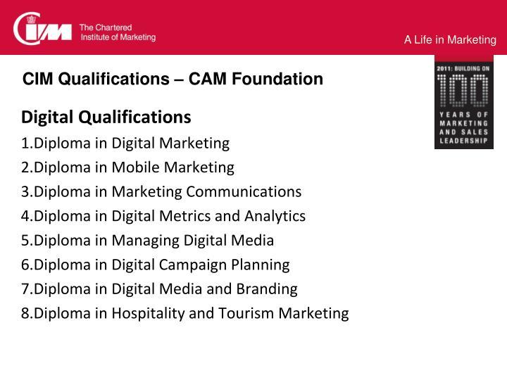 CIM Qualifications – CAM Foundation