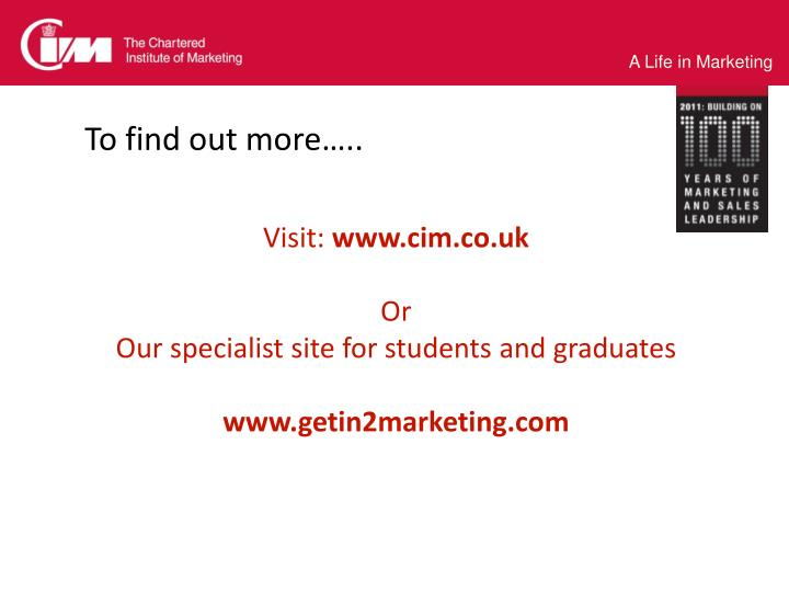 To find out more…..