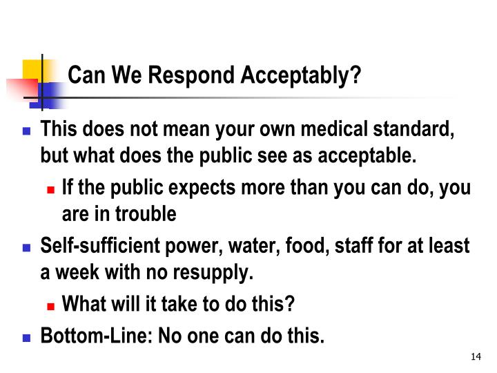 Can We Respond Acceptably?
