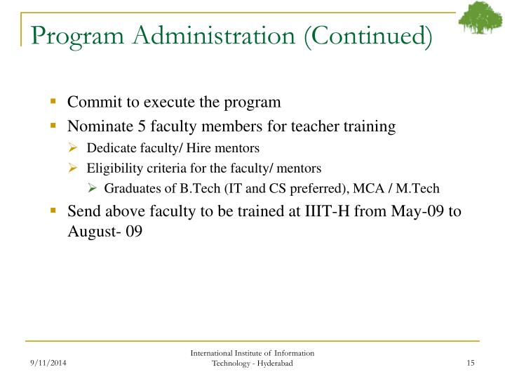 Program Administration (Continued)