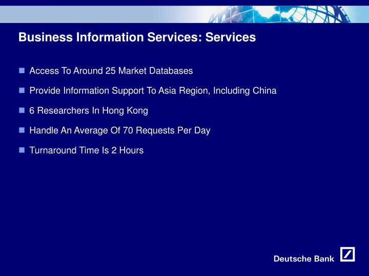 Business Information Services: Services