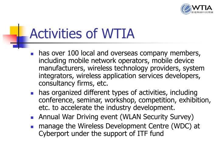 Activities of WTIA