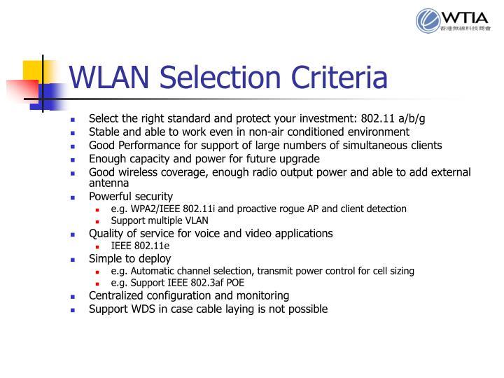 WLAN Selection Criteria