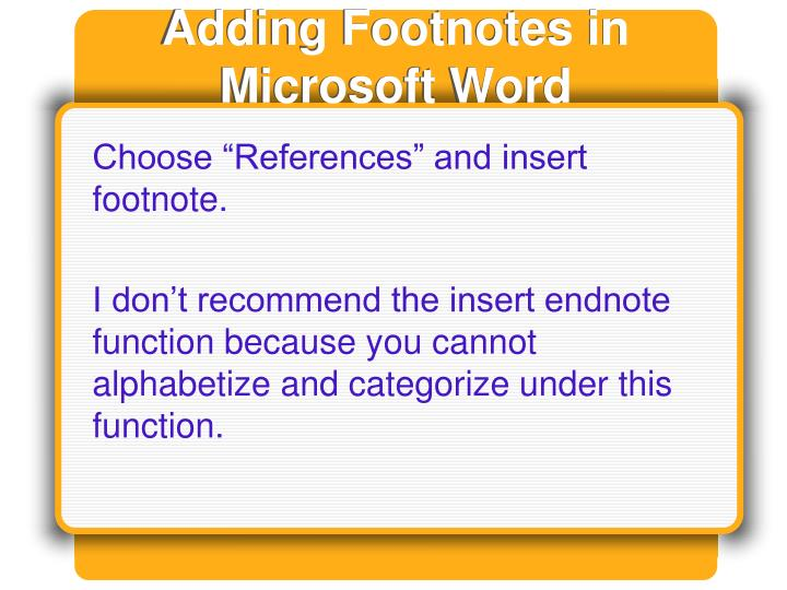 Adding Footnotes in Microsoft Word