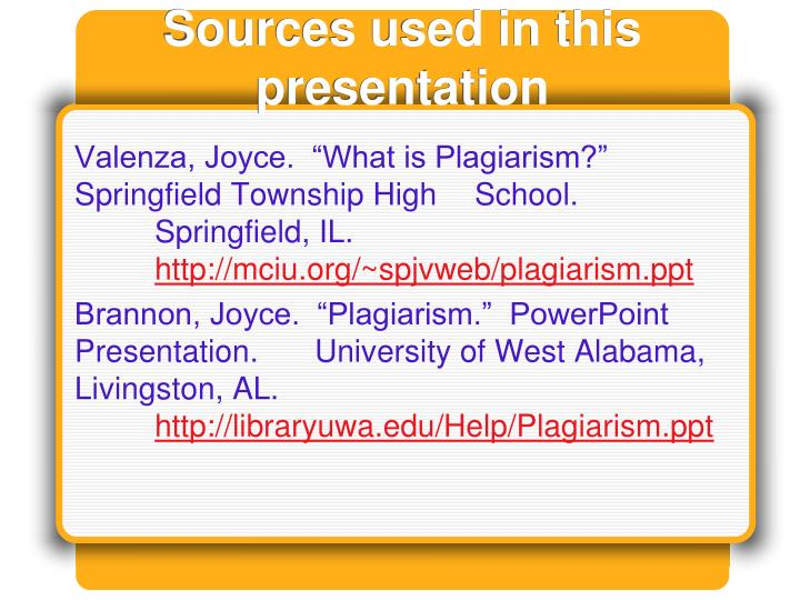 Sources used in this presentation