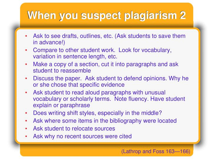When you suspect plagiarism 2