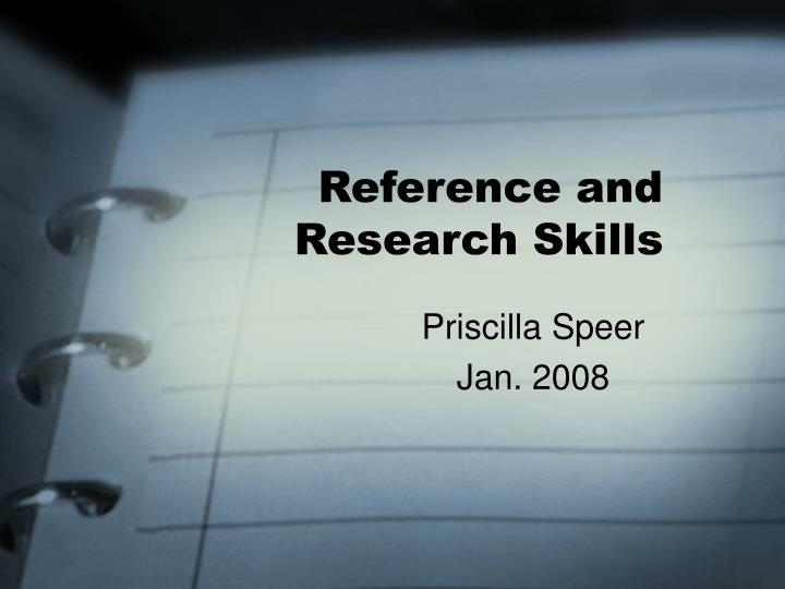 reference and research skills n.