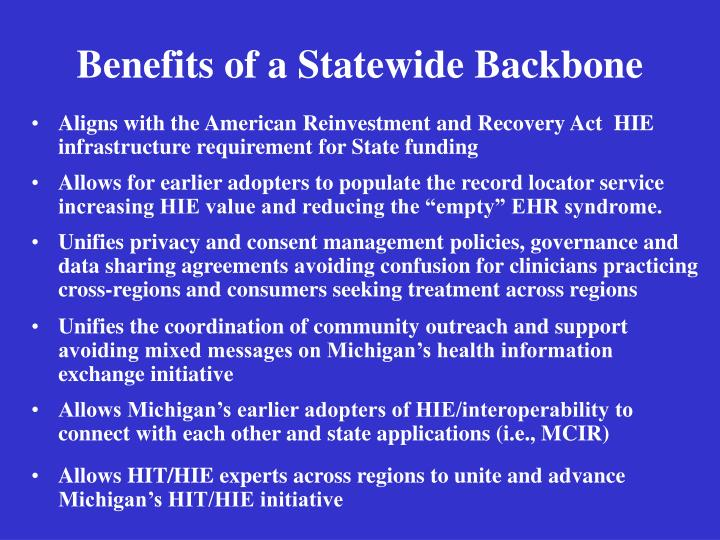 Benefits of a Statewide Backbone