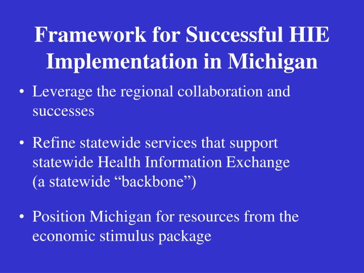 Framework for Successful HIE Implementation in Michigan