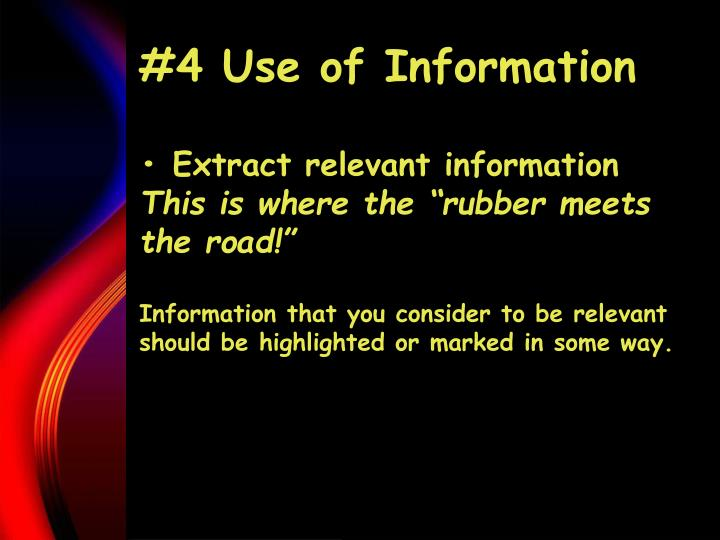 #4 Use of Information