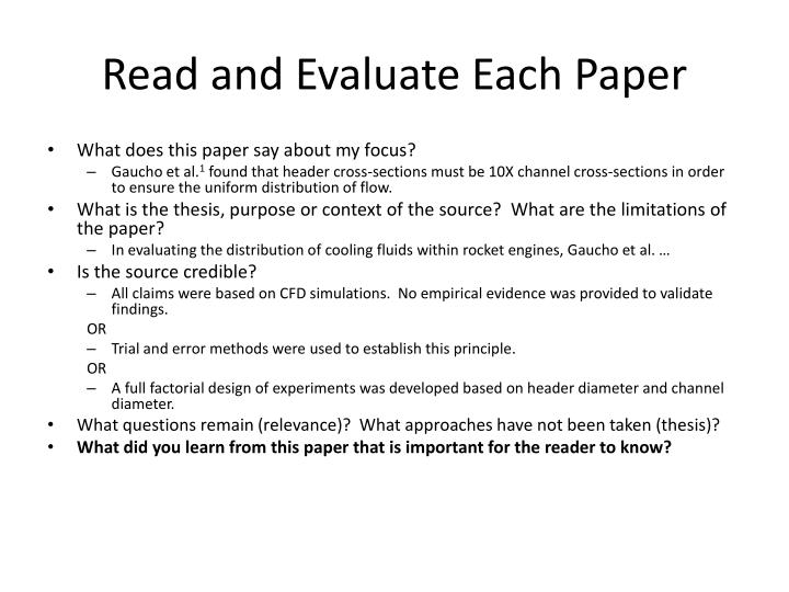 Read and Evaluate Each Paper