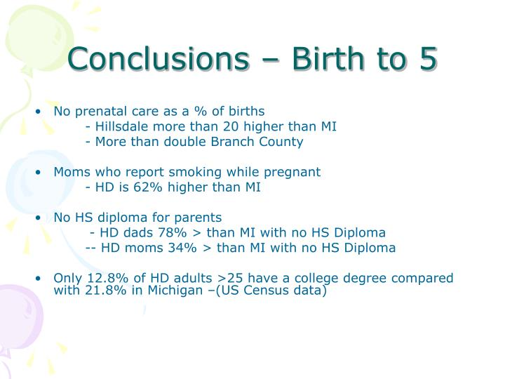 Conclusions – Birth to 5