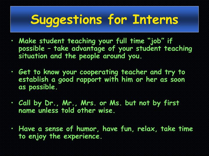 Suggestions for Interns