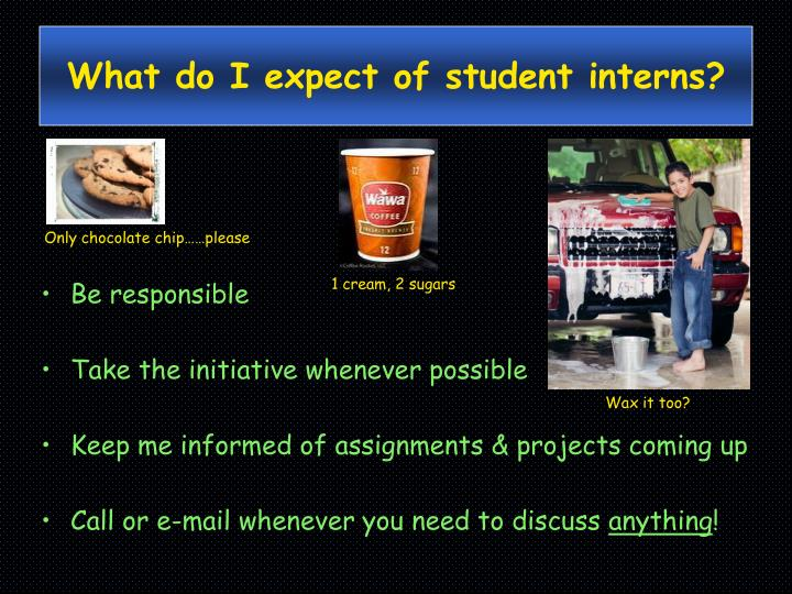 What do I expect of student interns?