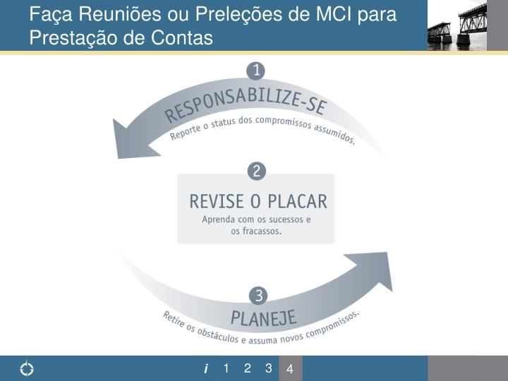 Faça Reuniões ou Preleções de MCI para Prestação de Contas