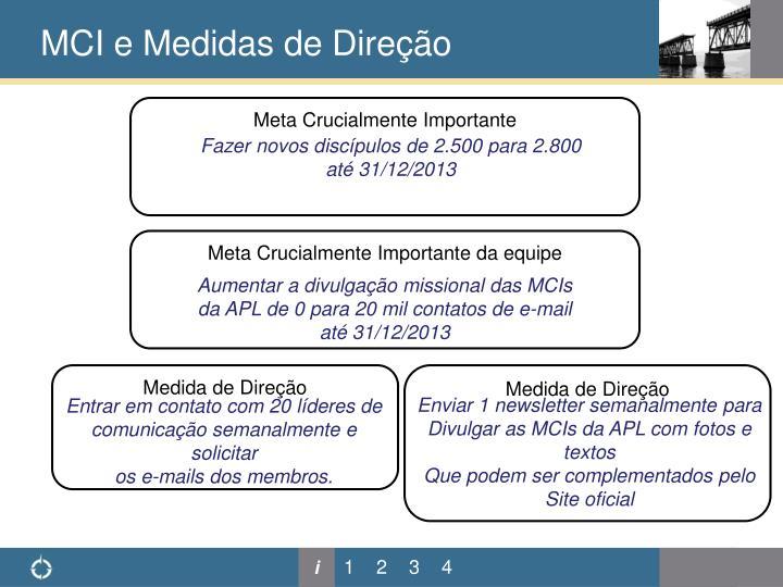MCI e Medidas de Direção