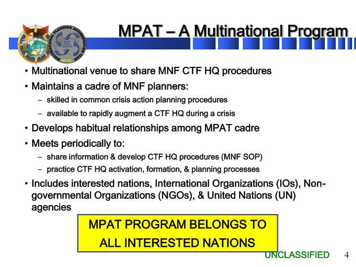 MPAT – A Multinational Program