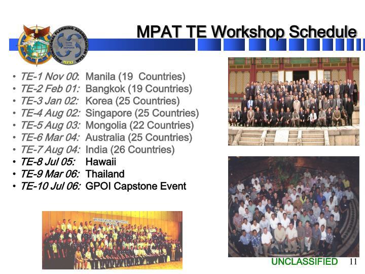 MPAT TE Workshop Schedule