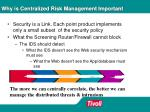 why is centralized risk management important
