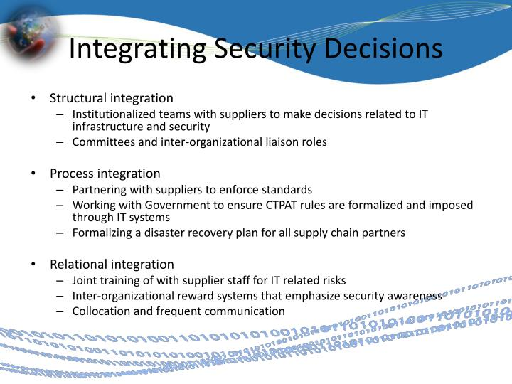 Integrating Security Decisions