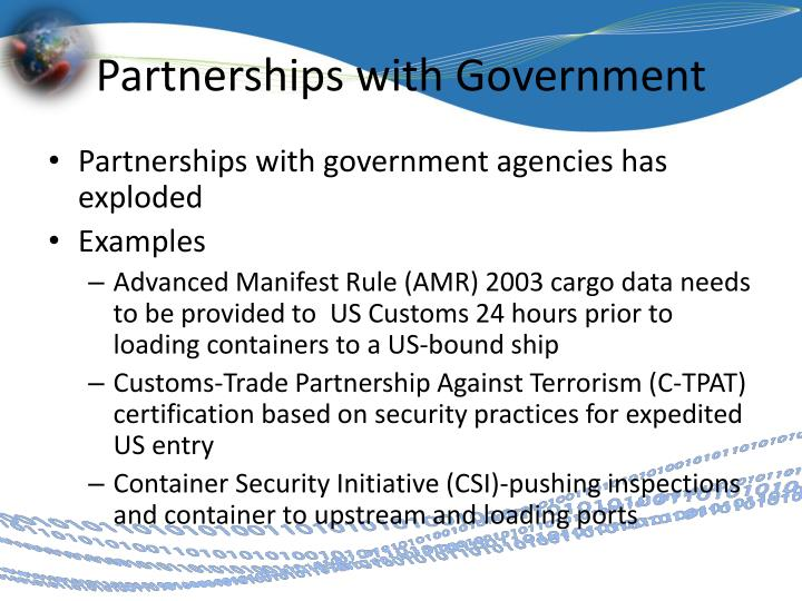 Partnerships with Government