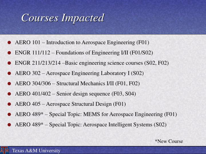 Courses impacted