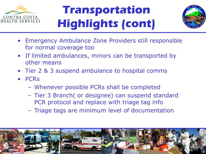 Transportation Highlights (cont)