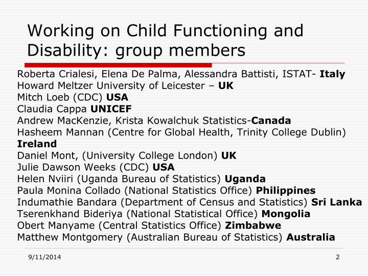 Working on child functioning and disability group members