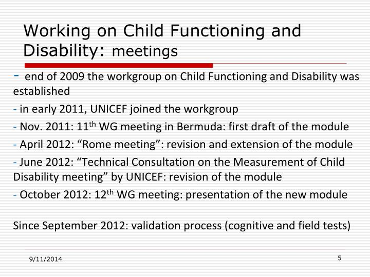 Working on Child Functioning and Disability: