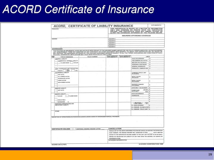ACORD Certificate of Insurance