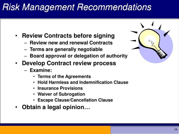 Risk Management Recommendations