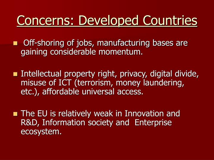 Concerns: Developed Countries