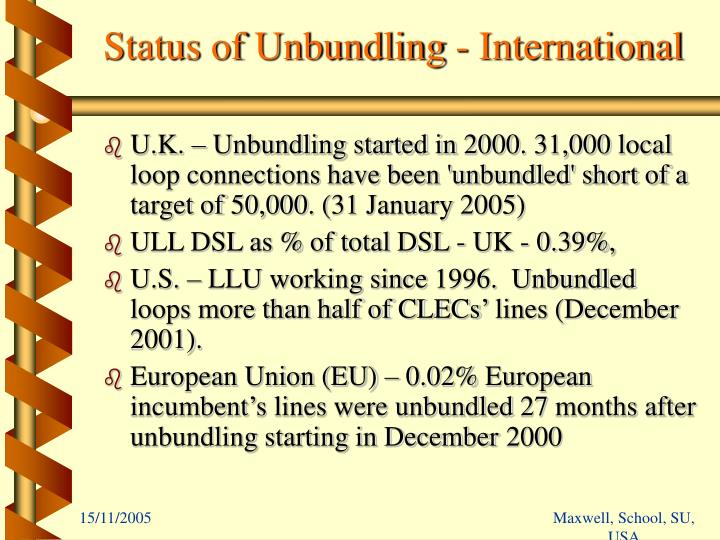 Status of Unbundling - International
