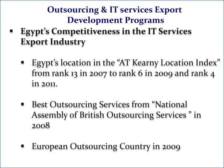 Outsourcing & IT services Export