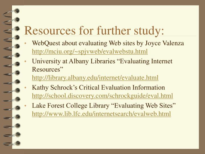 Resources for further study:
