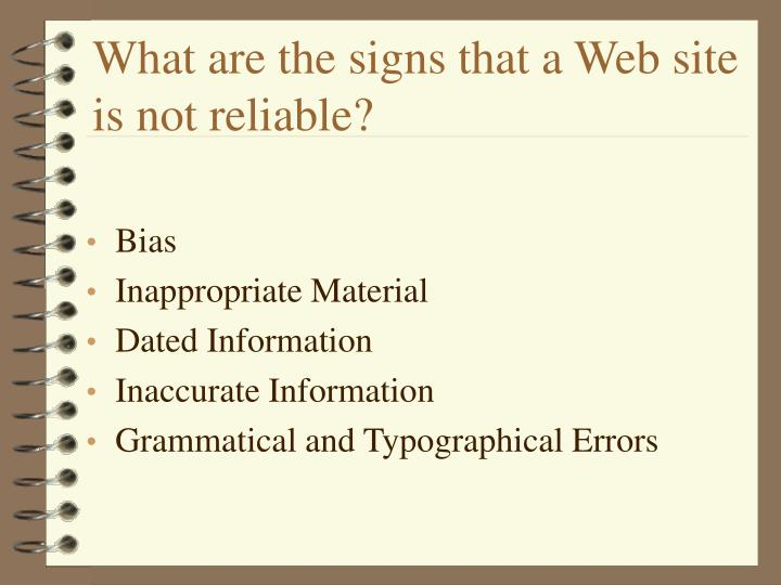 What are the signs that a web site is not reliable