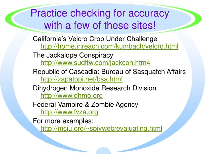 Practice checking for accuracy with a few of these sites!