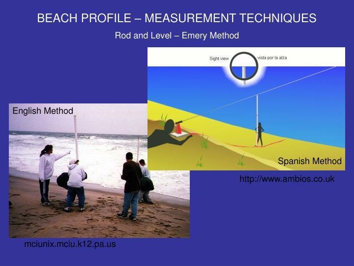 BEACH PROFILE – MEASUREMENT TECHNIQUES