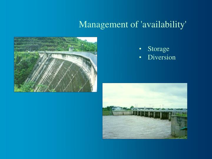 Management of 'availability'