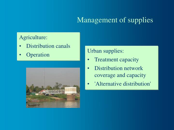 Management of supplies