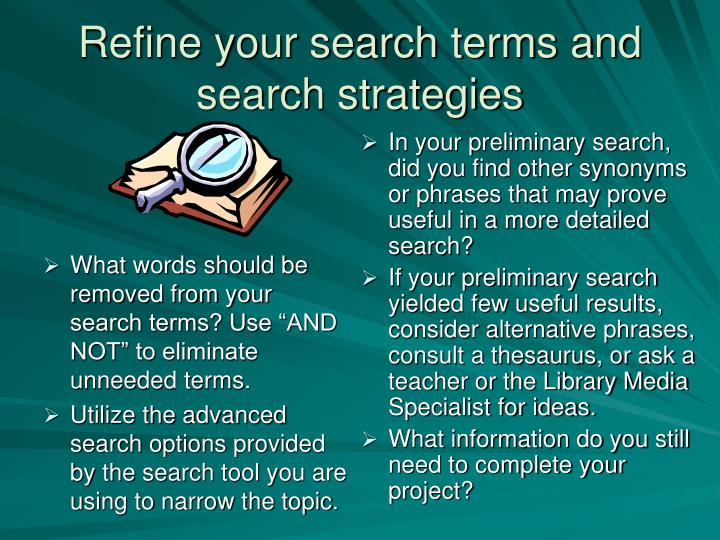 """What words should be removed from your search terms? Use """"AND NOT"""" to eliminate unneeded terms."""