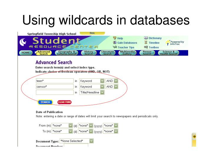 Using wildcards in databases