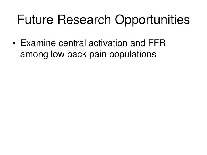 Future Research Opportunities