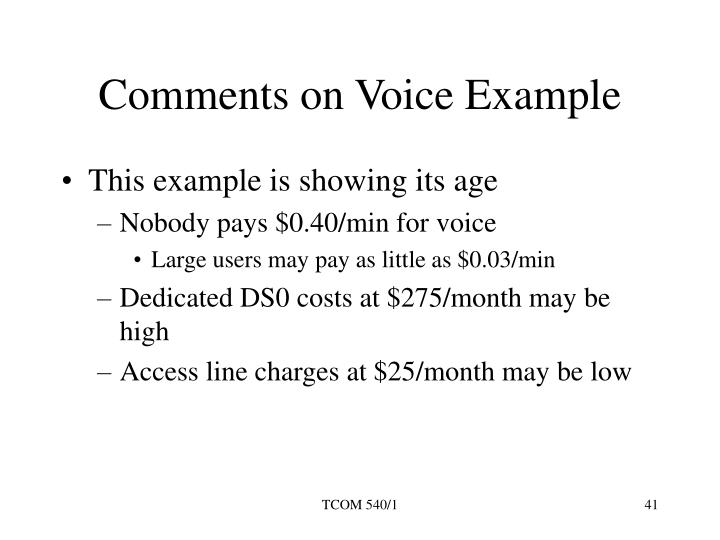 Comments on Voice Example