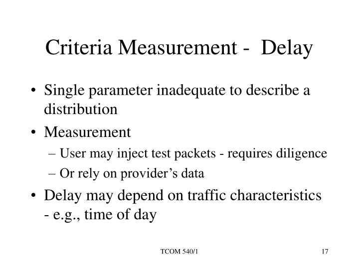 Criteria Measurement -  Delay
