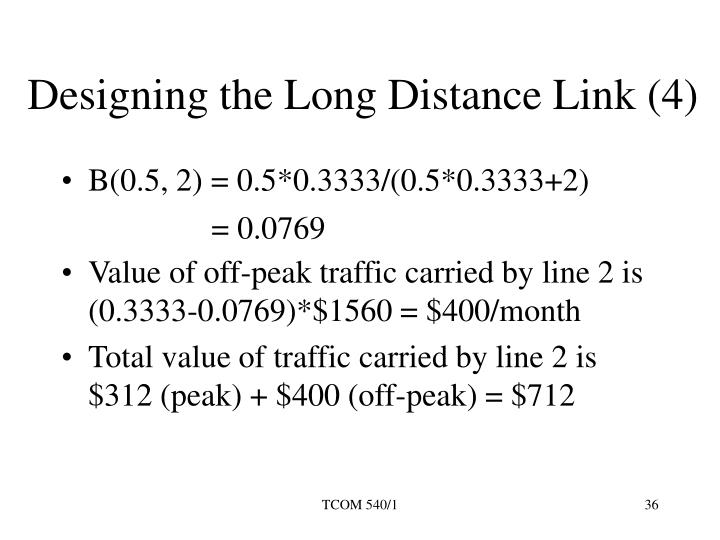 Designing the Long Distance Link (4)