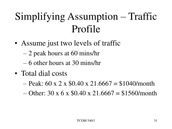 Simplifying Assumption – Traffic Profile