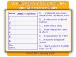 jacquie henry s daily schedule and attendance stats